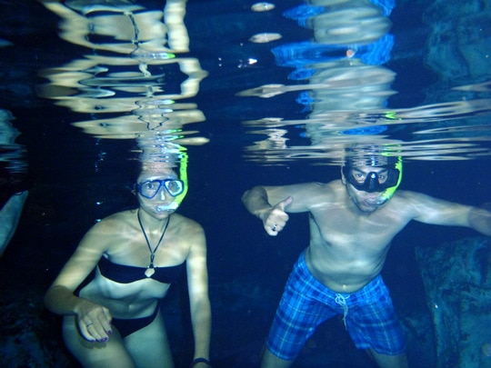 Snorkeling in a cenote