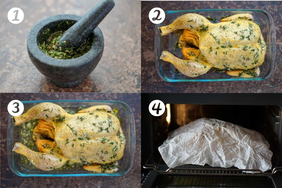Steps 1-4 to make Spanish roast chicken in a grid.