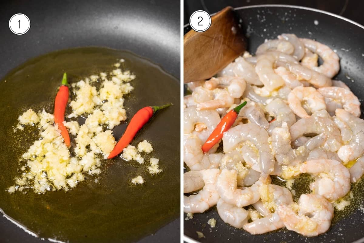 Steps 1-2 of making Spanish garlic prawns in a grid. Minced garlic, cayenne pepper and shrimp in a pan.