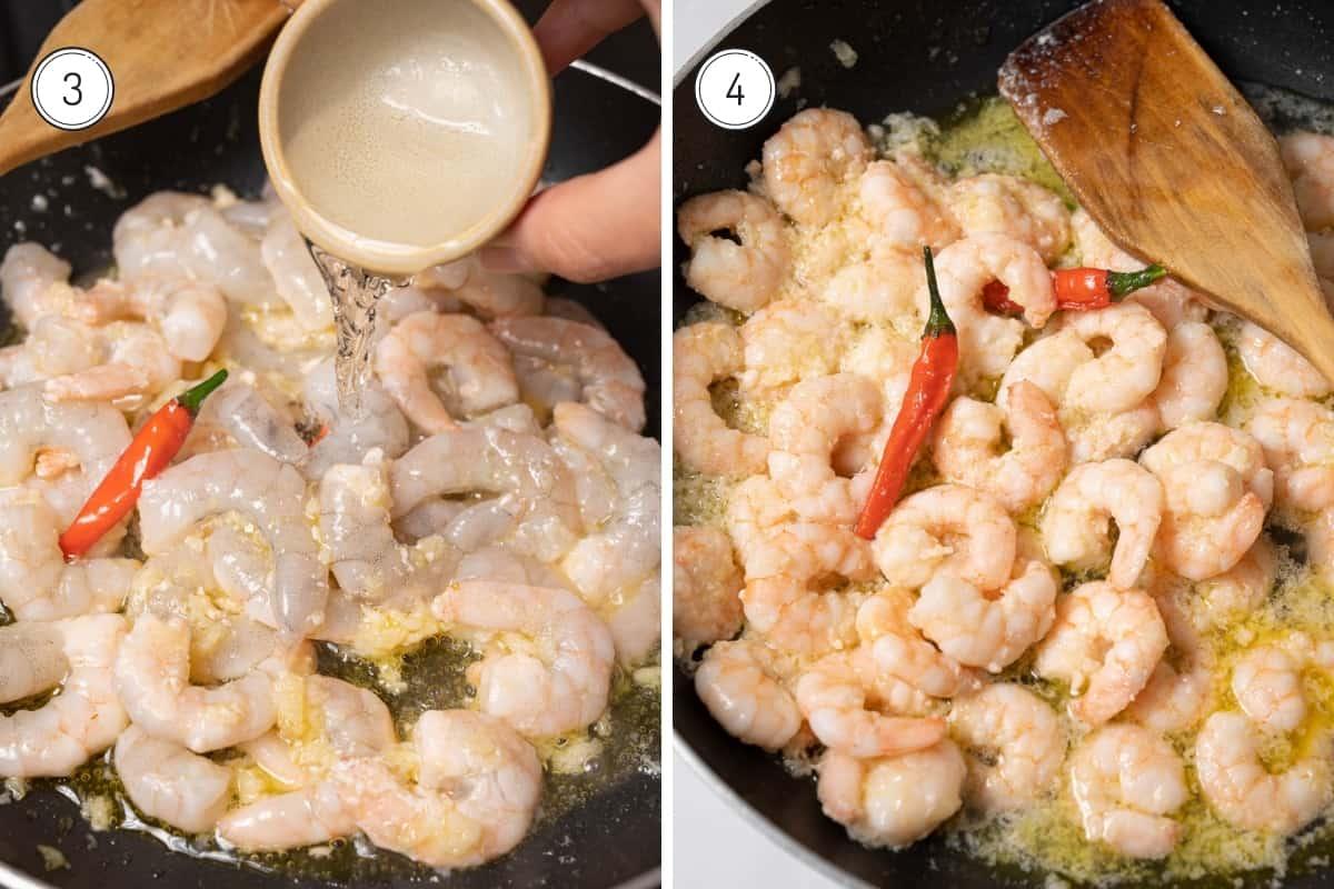 Steps 3-4 making Spanish garlic shrimp in a grid. Adding wine and sautéing the shrimp.