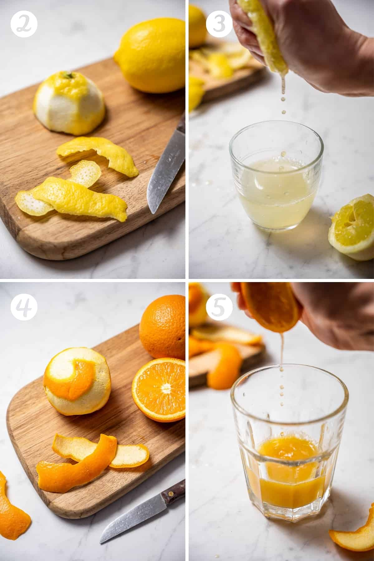 A grid of four photos showing peeling the rind of lemons and oranges and juicing lemons and oranges.