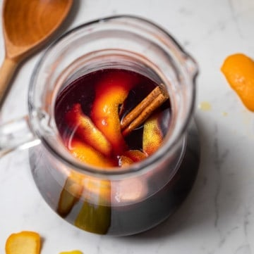 Pitcher of traditional Spanish sangria with cinnamon stick