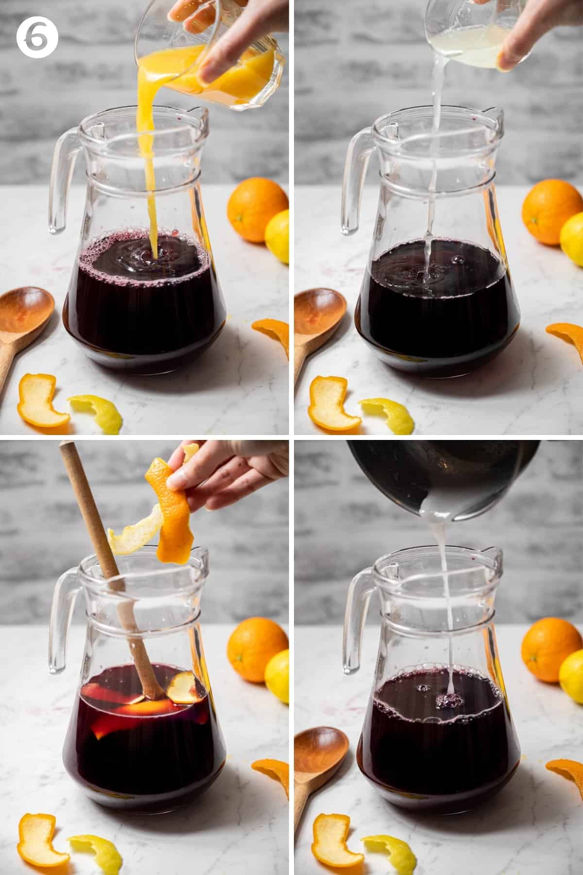 Grid of four photos showing a pitcher of red wine and adding to it orange juice, lemon juice, citrus peel and simple syrup.