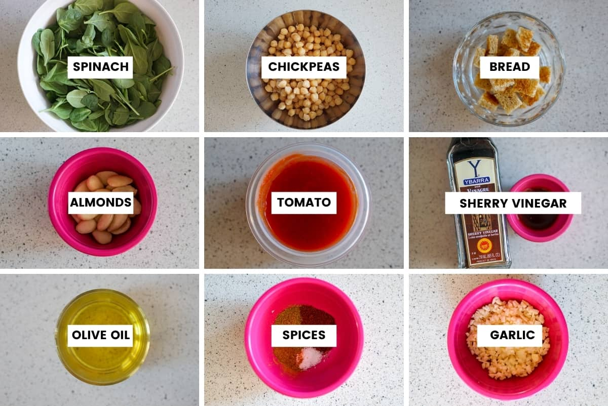 Ingredients for spinach and chickpea stew in a grid