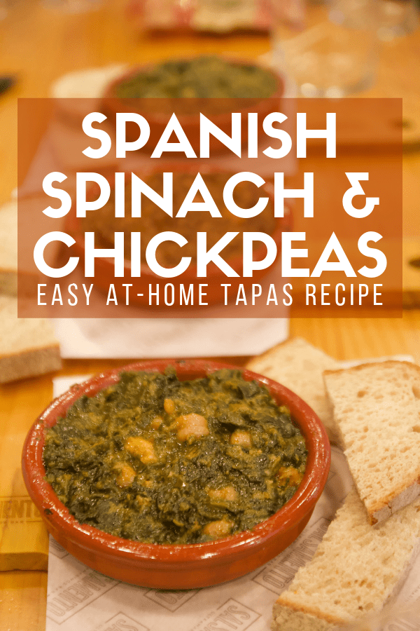 Looking for a traditional recipe from Spain for your next tapas party? Here's an easy recipe that will show you how to make authentic spinach and chickpeas, or espinacas con garbanzos. The best part: it comes together in just one pot! Pair it with one of your favorite Spanish red wines for a bonus. #Spain #tapas