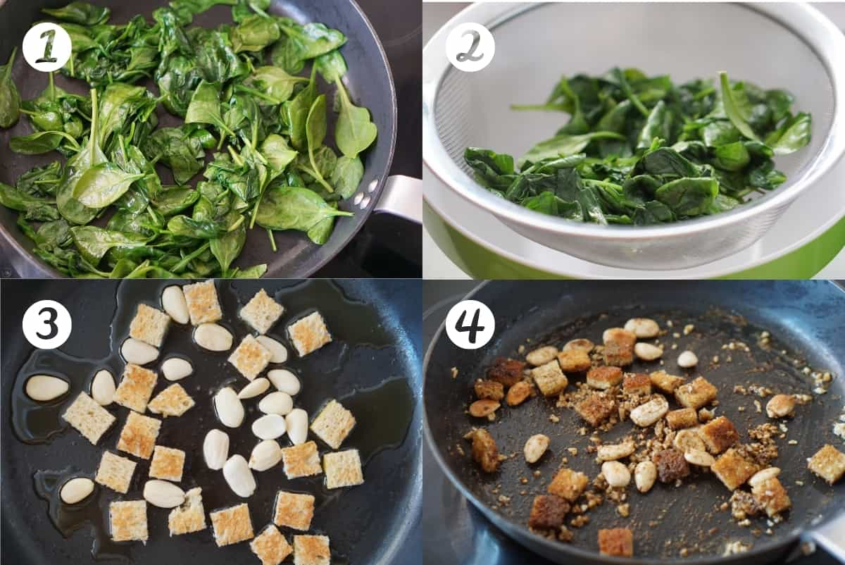 Steps 1-4 of making spinach and chickpea stew in a grid.