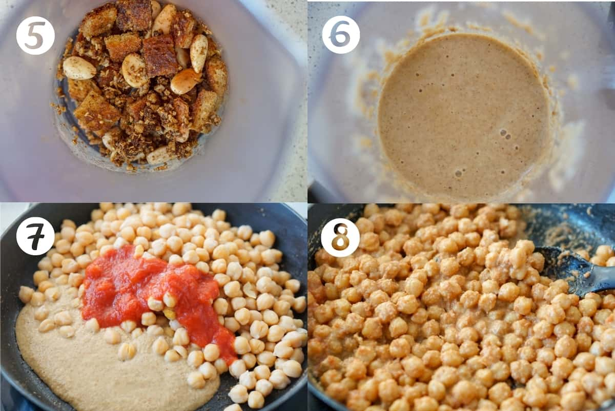 Steps 5-8 of making Spanish espinacas con garbanzos in a grid.