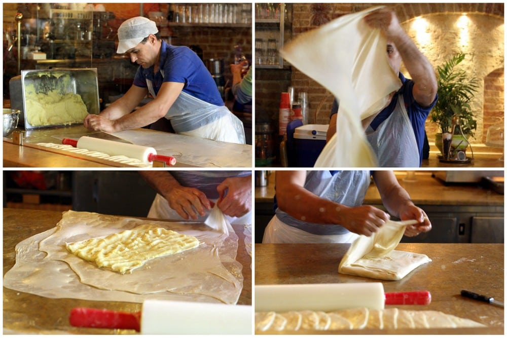 making phyllo dough in athens food tour