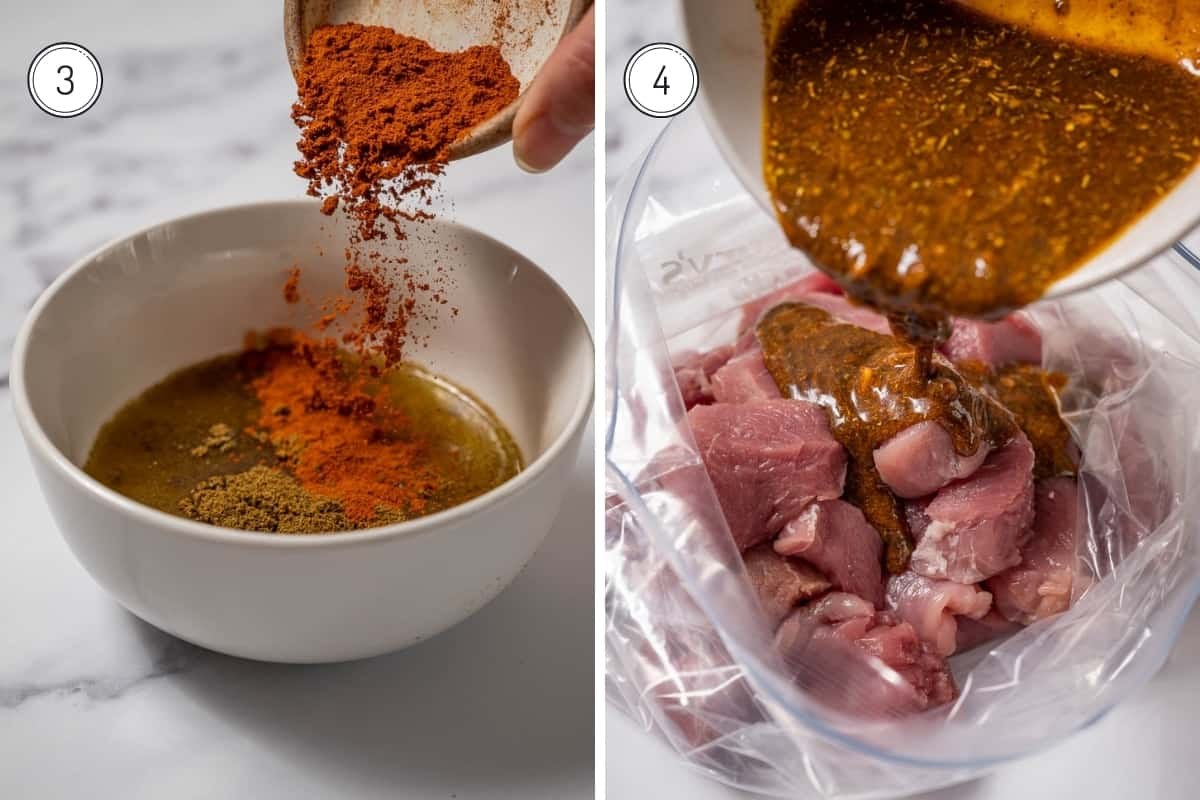 Steps 3 and 4 of making pinchos morunos. Making the ras el hanout marinade in a bowl and pouring over the raw pork cubes.