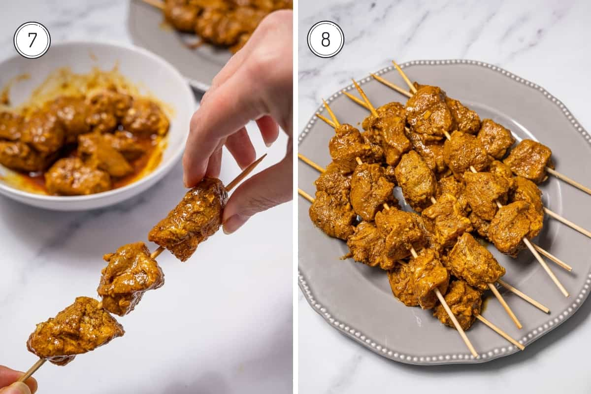 Steps 7 and 8 of making pinchos morunos. Putting the marinated raw pork on wooden skewers.