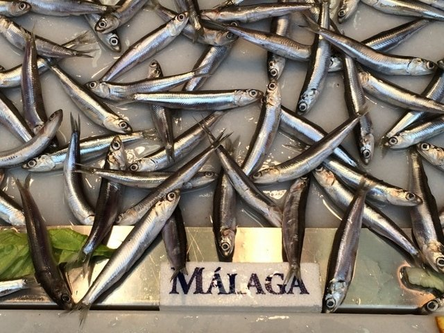 These are a typical small fish, boquerones, as seen at the Mercado de Atarazanas, one of the best markets in Malaga.