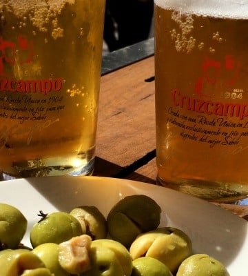 gourmet seville - olives and beer