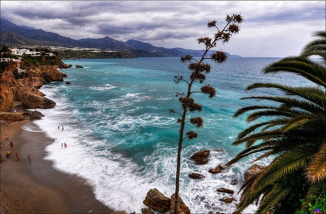The coast line of Nerja is just one reason that this town is one of the best day trips from Malaga.