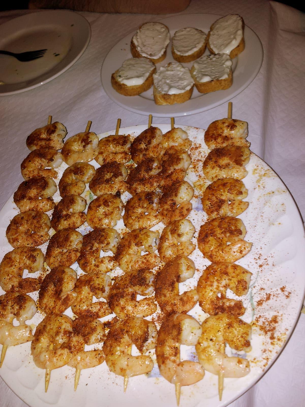 Shrimp skewers at the Bar Mercado del Carmen, El Perchel