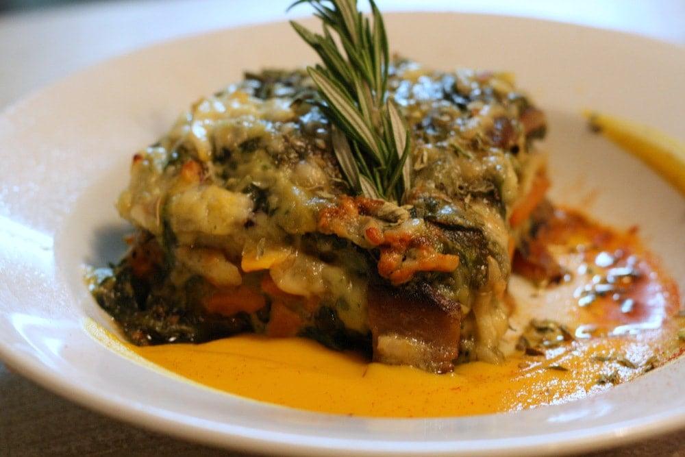 A delicious vegetable lasagna at Mechela Restaurante in Seville
