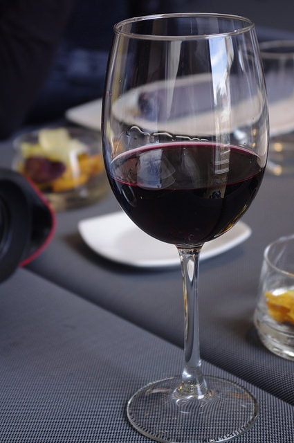 A glass of red wine is part of the Mediterranean Diet