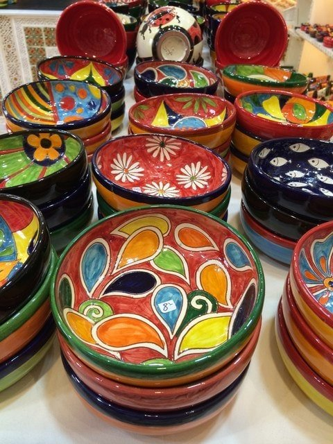 Hand painted ceramic bowls make for a great Christmas gift from Malaga. These are so brightly colored, your friends and family are sure to love them!
