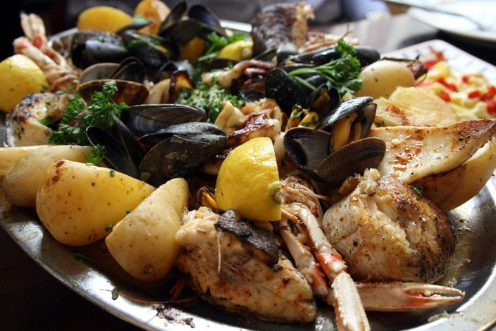 Fresh seafood in Saint Jean de Luz on my Basque Country road trip through Northern Spain.