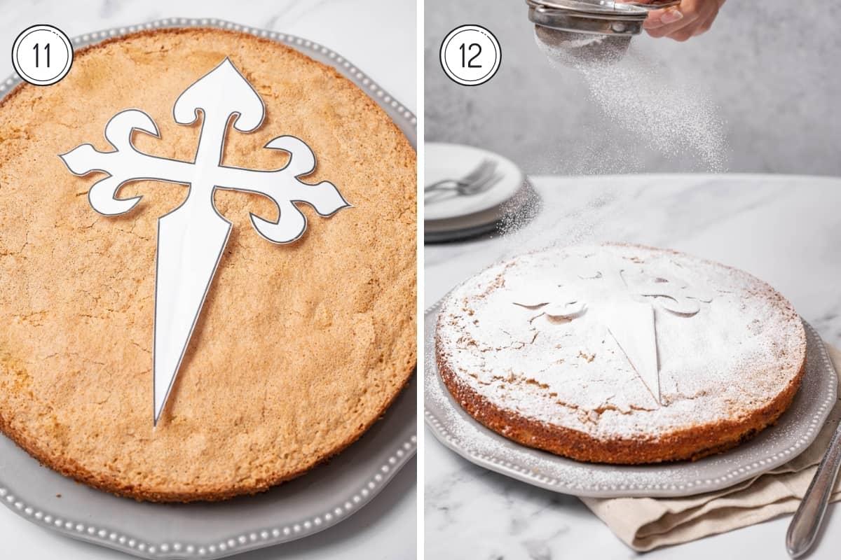 Steps 11-12 tarta de santiago in a grid. Saint James cross stencil with powdered sugar.