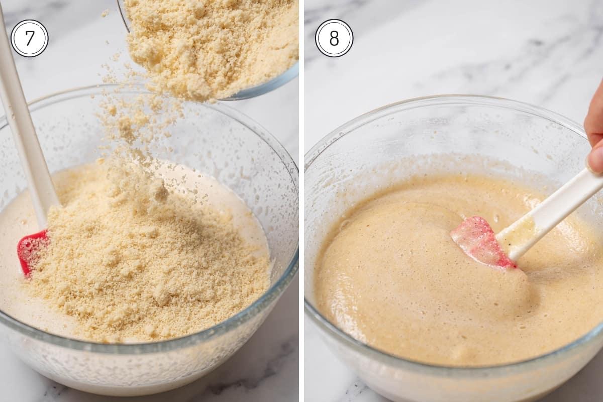 Steps 7-8 of making tarta de Santiago in a grid.Folding in ground almonds.