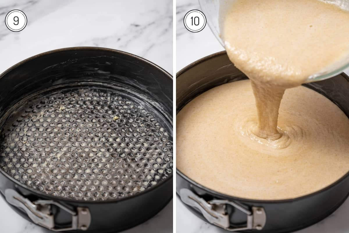 Steps 9-10 of making tarta de Santiago in a grid. Grease the mold and add batter.
