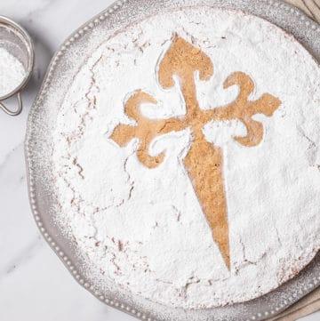 Spanish almond cake with cross of Saint James