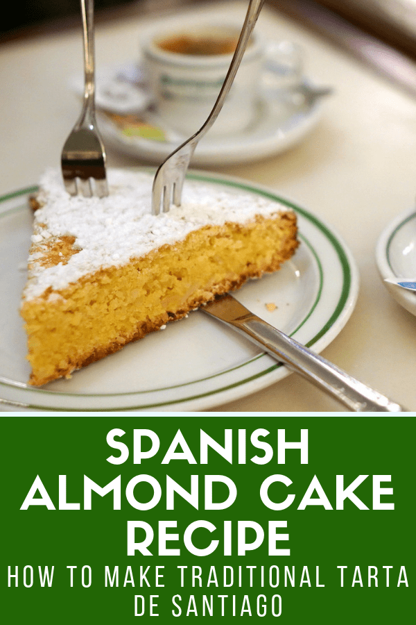 There are many delicious typical Spanish desserts, but tarta de Santiago takes the cake (pardon the pun) in my book. This almond cake from Spain is so light and flavorful, as well as super easy to make. Follow my tarta de Santiago recipe and enjoy it after you've polished off plenty of tapas! #dessert #Spain