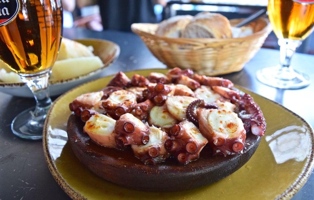 Best Bites in La Coruña, octopus in La Coruña Spain.