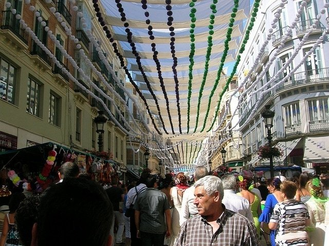 Calle Larios decorated for the August Fair in Malaga