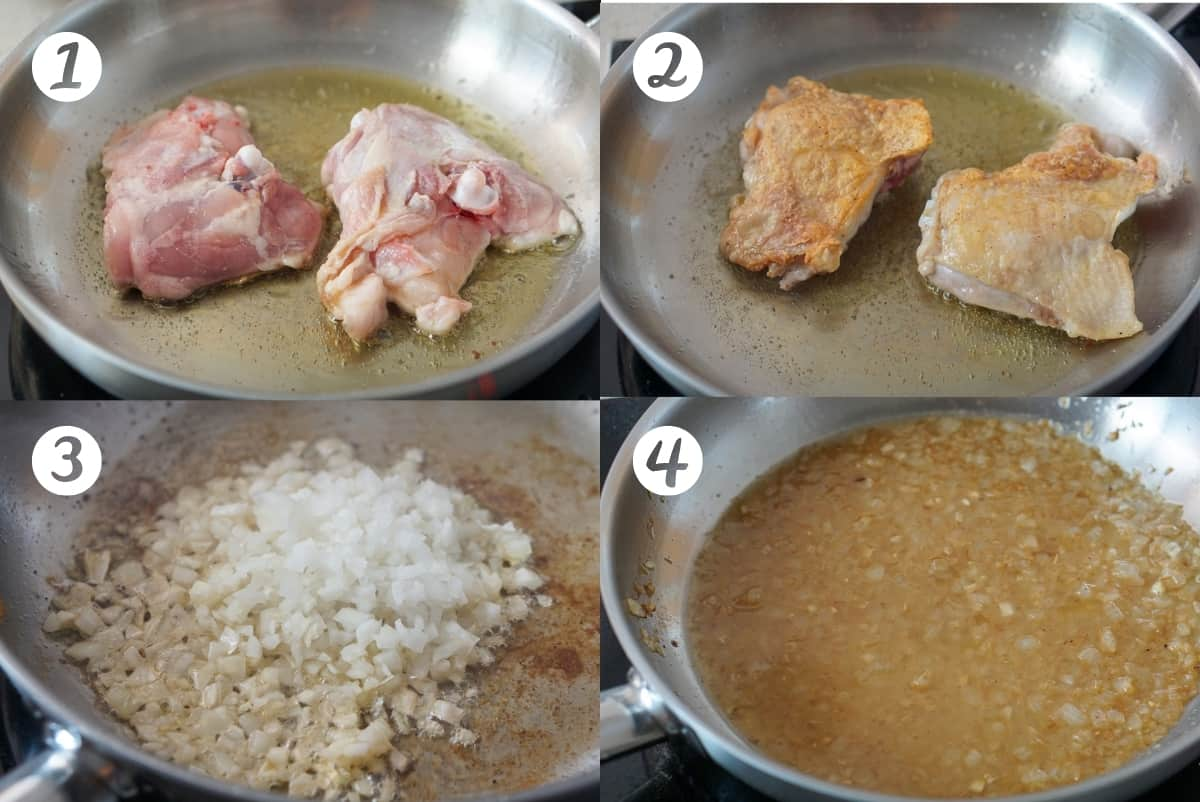 Cooking chicken pepitoria step by step: browning the chicken, adding onions, adding wine