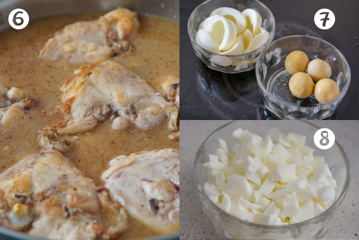 Three photos of the pepitoria cooking process: chicken in sauce, hard boiled egg with whites separated from yolks, and a bowl of diced hard boiled egg whites