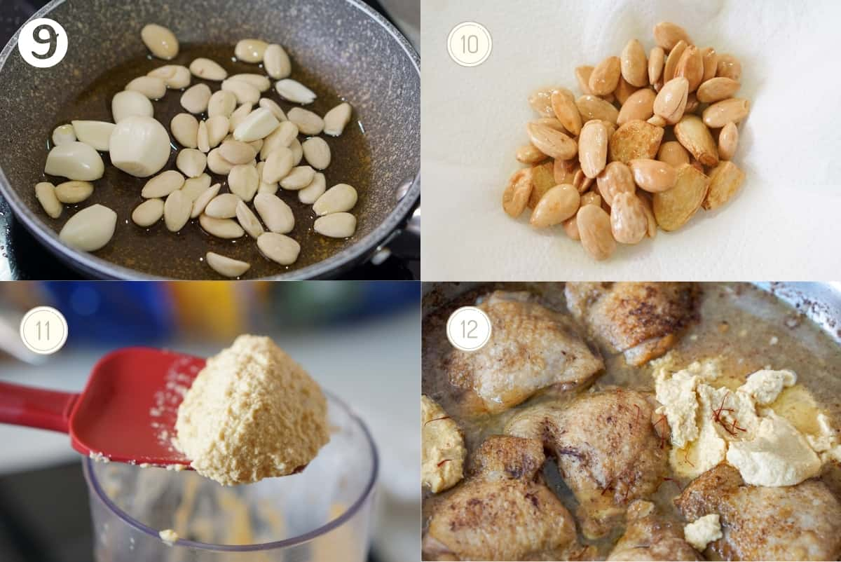 Four photos of the pepitoria chicken process: Almonds and garlic cooking in olive oil, fried almonds and garlic, blended almond and garlic paste, almond and garlic paste in the pan with the chicken