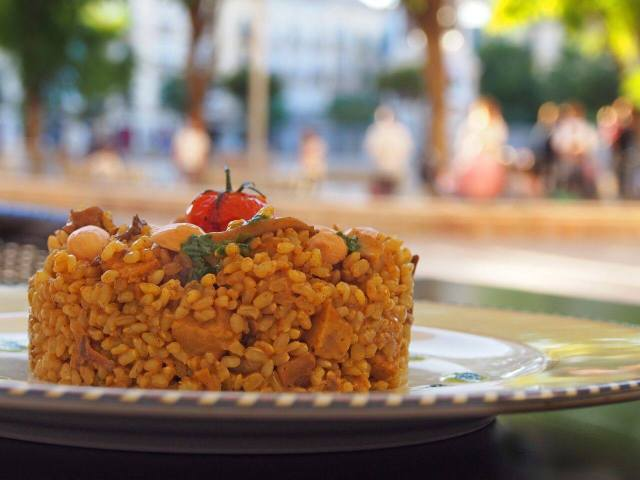 One of the places for vegetarian food in Malaga, Cañadú, serves a beautiful rice dish