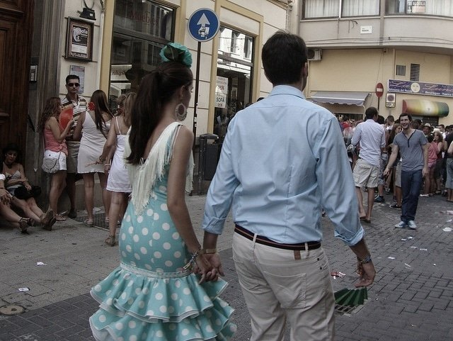 Couple dressed for the August fair in Malaga