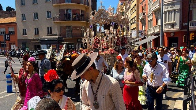 The procession of the Romeria on the first Saturday of the August Fair in Malaga