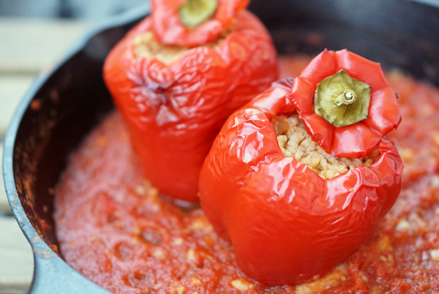 Easy Vegetarian Spanish Stuffed Peppers with Rice