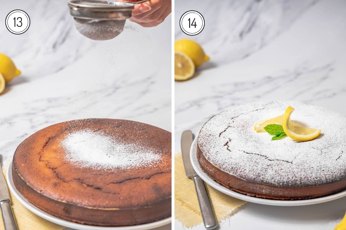 Steps 13-14 olive oil cake with lemon and almonds