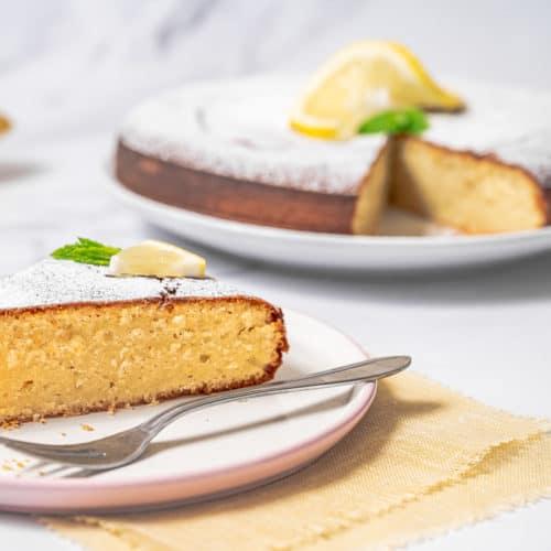 Lemon Olive Oil Cake on a plate