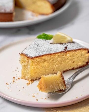 Slice of lemon olive oil cake