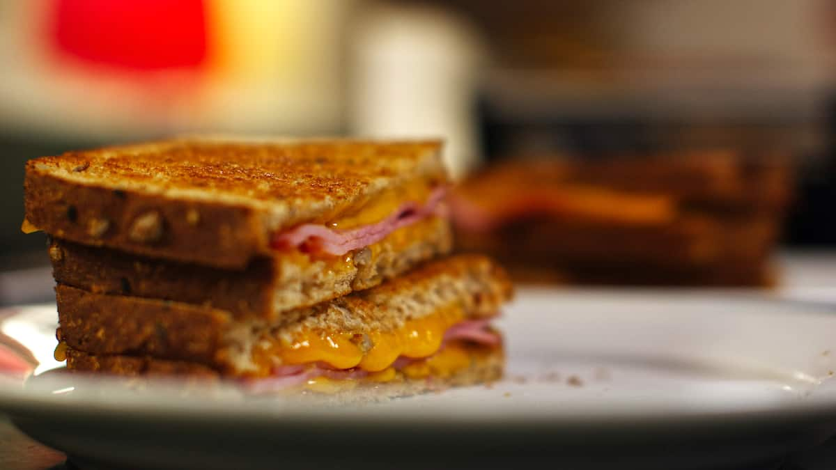 Grilled ham and cheese sandwich on a white plate