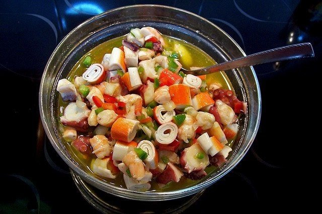 Salpicón de Mariscos is one of the typical tapas in Malaga. It's blend of seafood and veggies makes it delicious and light.