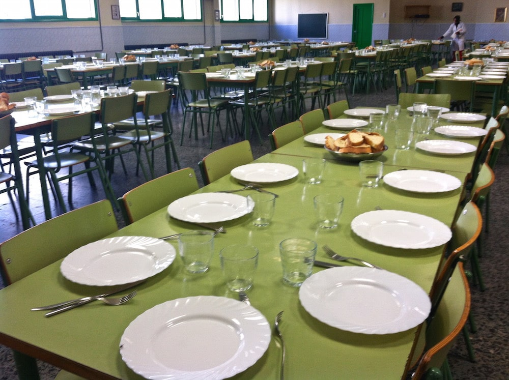 This is definitely not what my elementary school lunch room looked like! Some amazing regional Spanish food was served in this cafeteria in Galicia, Spain.