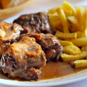 Rabo de Toro, stewed bull tail, is one of my favorite dishes to eat during the winter in Spain!