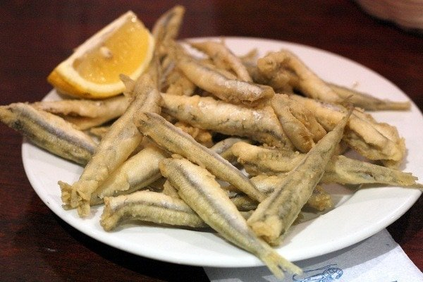 """Malagueños are called """"boquerones"""" because this fish is so common! Here it is fried for one of the most typical tapas from Malaga"""