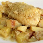 Delicious hake with cider and apples.