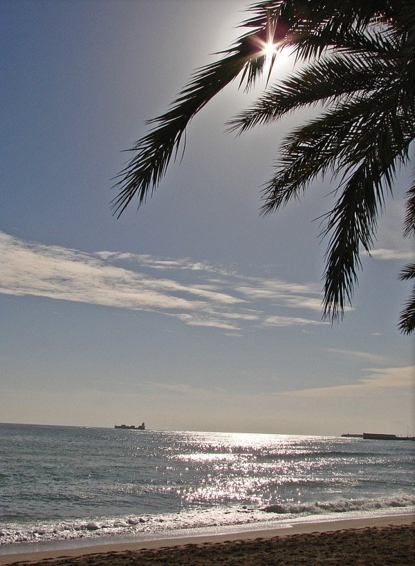 Things to do in Malaga at Christmas include a walk along this gorgeous beach