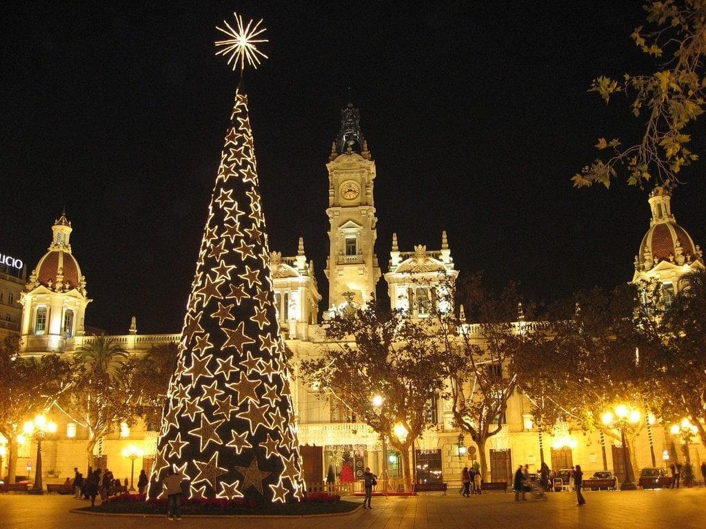 Valencia's City Hall at Christmas