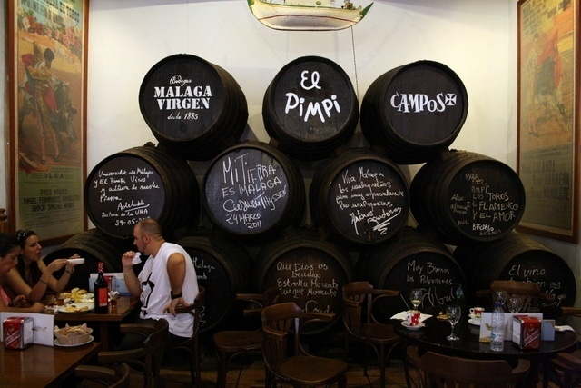 The very cool signed wine barrels at El Pimpi. Another great place on our list of where to eat in Malaga's Historic Center