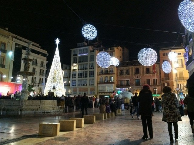 The Plaza de la Constitución lit up for Christmas in Malaga
