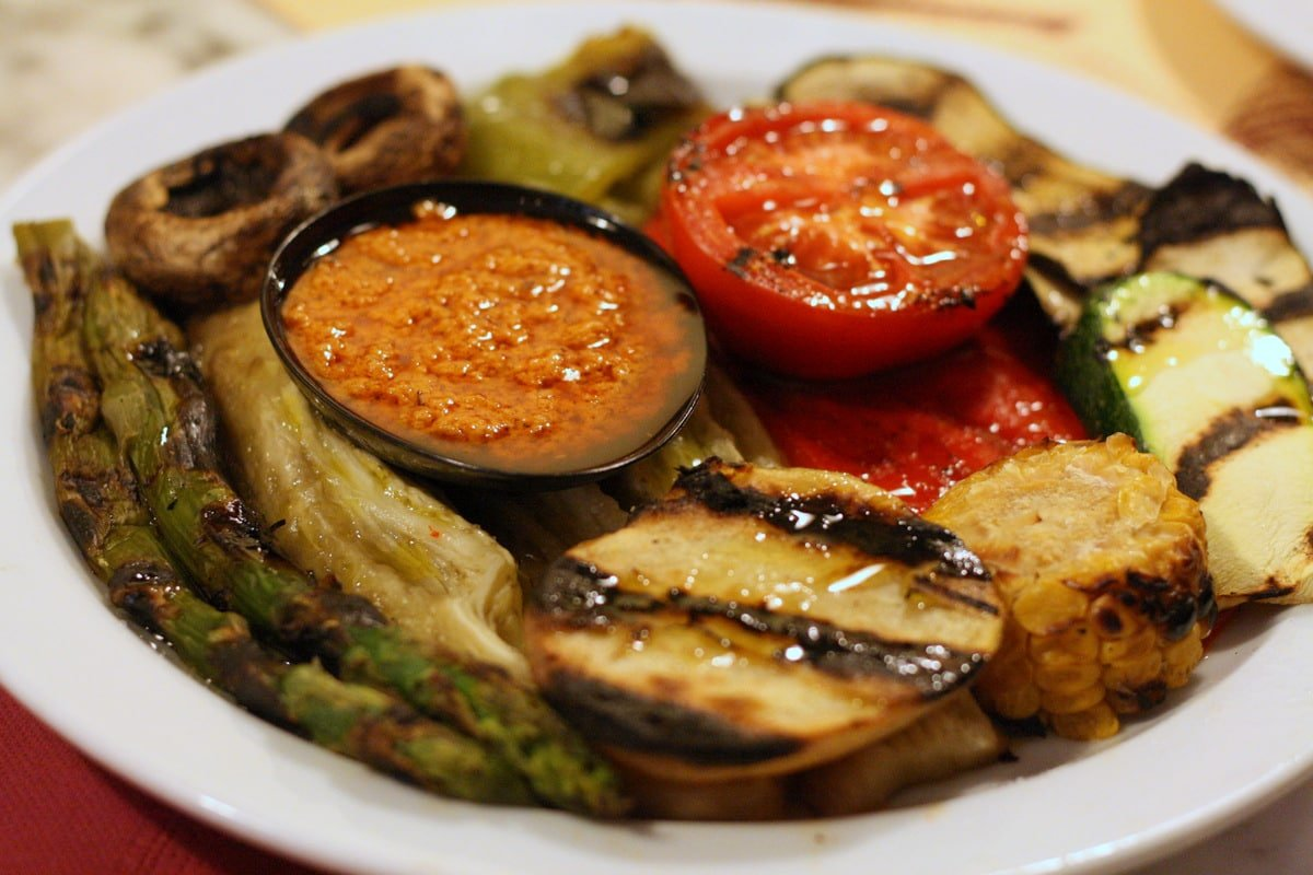roasted vegetables on a white plate
